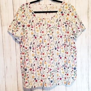 Floral Short Sleeve Top - L (12-14)